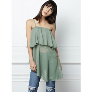 All About You Casual Noodle Strap Solid Women Green Top