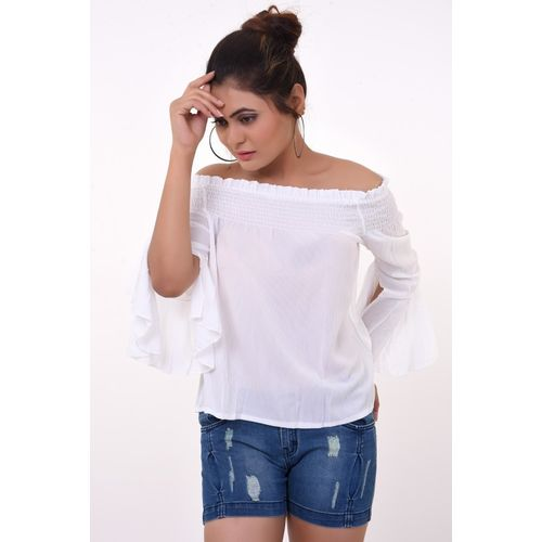 OTOP Casual Bell Sleeve Solid Women White Top