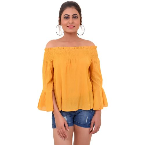 OTOP Casual Bell Sleeve Solid Women Yellow Top