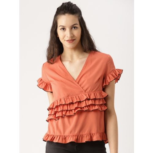 Dressberry Casual Short Sleeve Solid Women Red Top