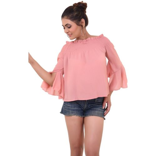 OTOP Casual Bell Sleeve Solid Women Pink Top