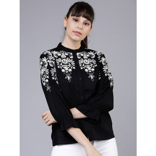Tokyo Talkies Women Black Embroidered Top