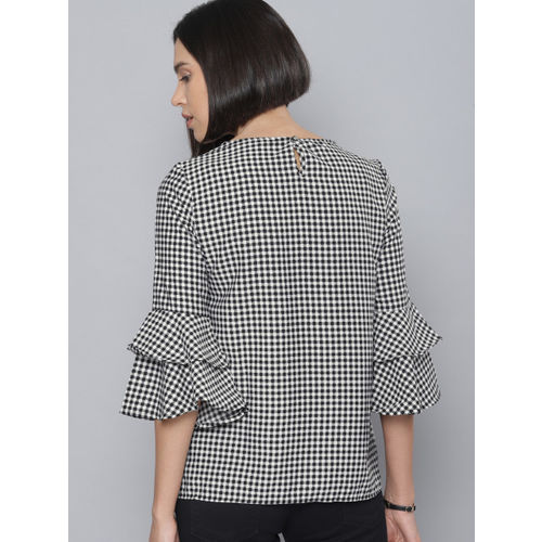 Tokyo Talkies Women Black & White Checked Embroidered Top