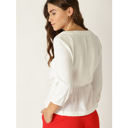 United Colors of Benetton Women White Solid Wrap Top