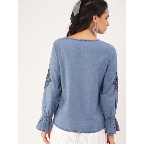 DressBerry Women Blue Solid Regular Top