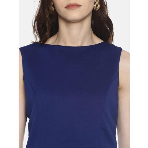AARA Women Blue Solid Peplum Top