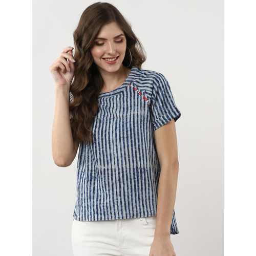 Sangria Women Blue & White Striped High-Low Top