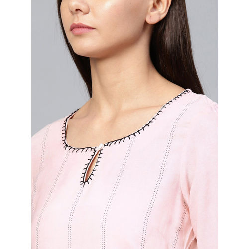 W Women Pink Embroidered Straight Kurta