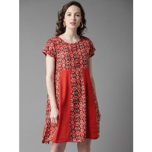 HERE&NOW Women A-line Orange Dress