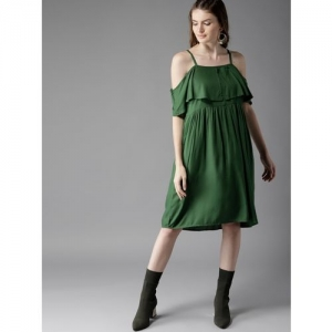 HERE&NOW Women Pleated Green Dress