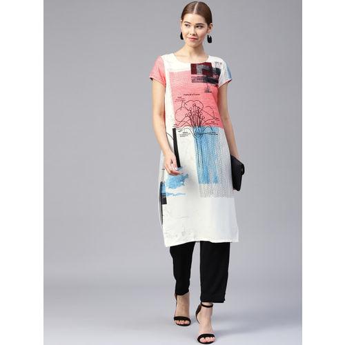 W Women White & Pink Printed Straight Kurta