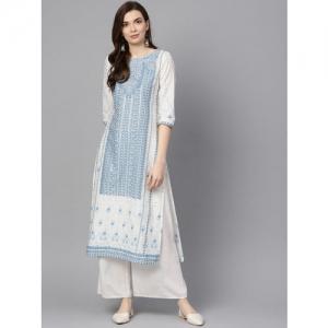 W Women White & Blue Printed Straight Kurta