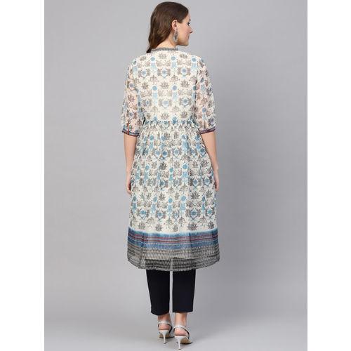 W Women White & Blue Printed A-Line Kurta