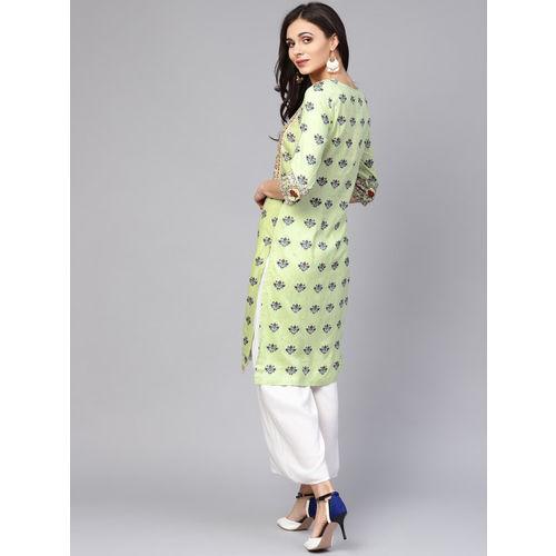 W Women Green Printed Straight Kurta