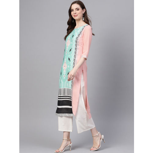 W Women Mint Green & Pink Colourblocked Printed Straight Kurta