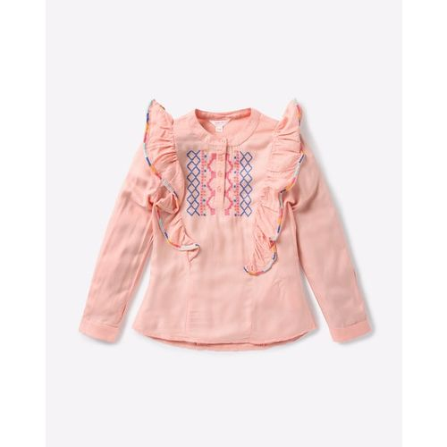 POINT COVE Embroidered Top with Ruffles