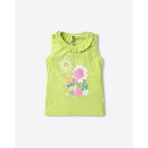 612 League Shimmery Floral Print Top with Ruffled Neckline