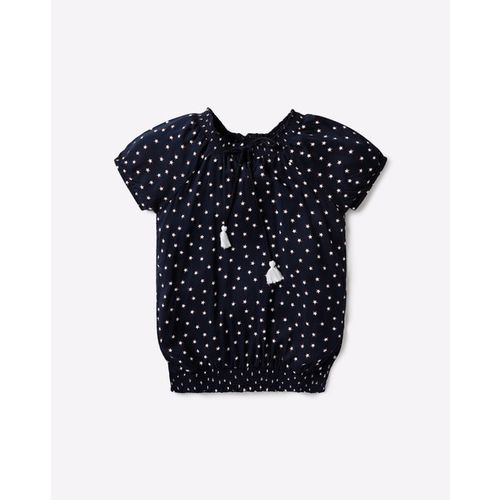 RIO GIRLS Star Print Blouson Top with Tie-Up