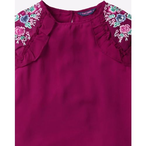 KG FRENDZ Embroidered Round-Neck Top with Ruffled Sleeves