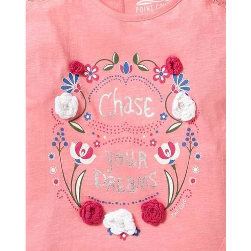 POINT COVE Typographic & Floral Print T-shirt with Rosettes