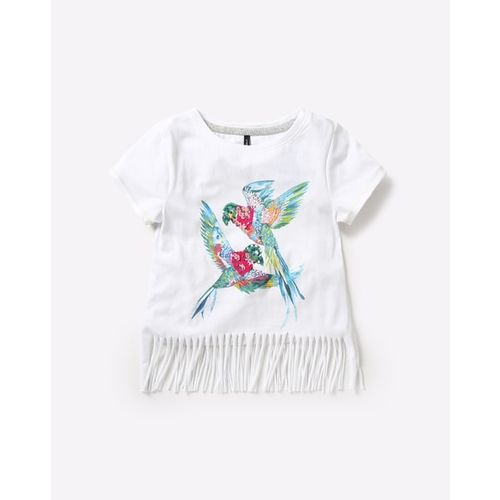 RIO GIRLS Parrot Printed Round-Neck T-shirt with Fringes