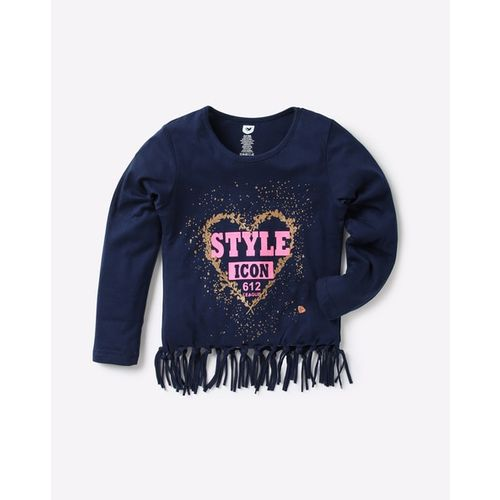 612 League Shimmery Round-Neck T-shirt with Fringe