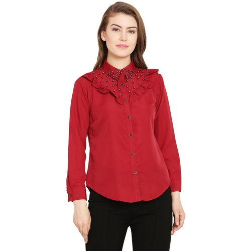 The WEAVER Casual Full Sleeve Solid Women Red Top