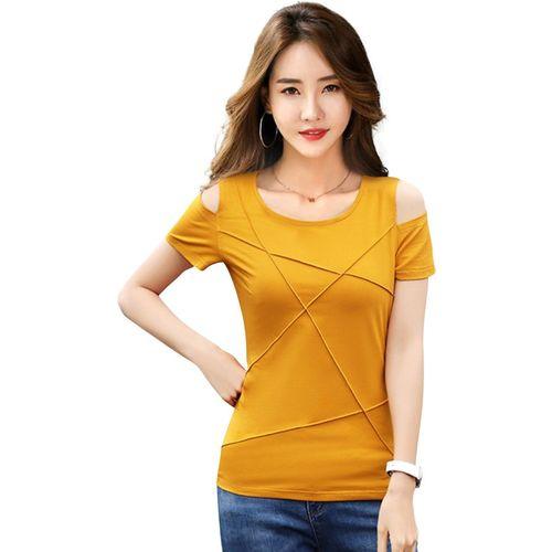 ILLI LONDON Casual Short Sleeve Solid Women Yellow Top
