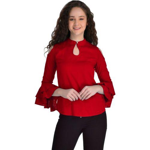VAANYA Casual 3/4 Sleeve Solid Women Red Top