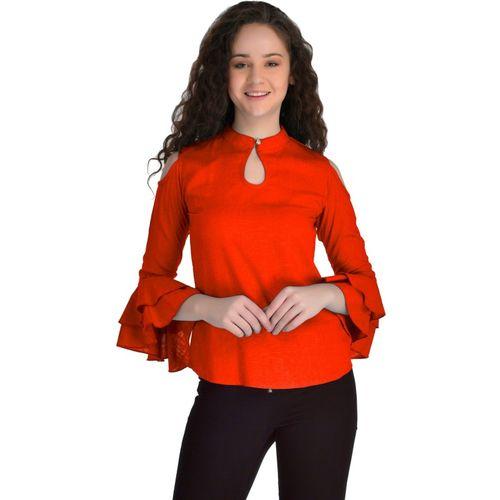 VAANYA Casual 3/4 Sleeve Solid Women Orange Top