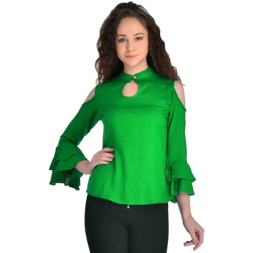 VAANYA Casual 3/4 Sleeve Solid Women Green Top