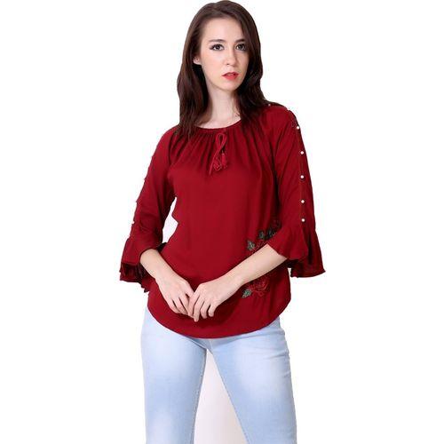 Jiya Fabricator Casual 3/4th Sleeve Embroidered Women's Maroon Top
