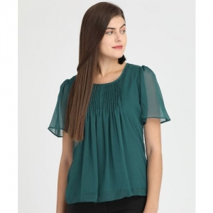 Park Avenue Casual Half Sleeve Solid Women Dark Green Top