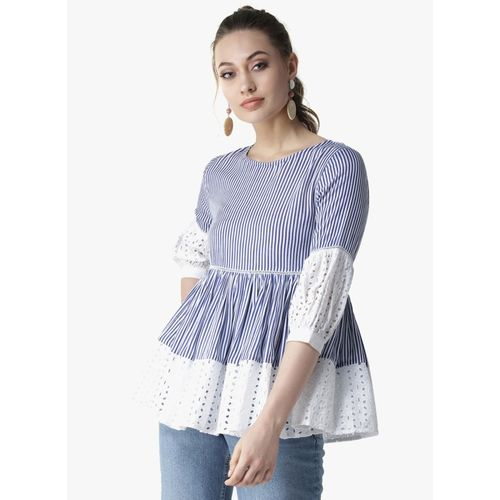 La Zoire Casual Puff Sleeve Striped Women Blue, White Top