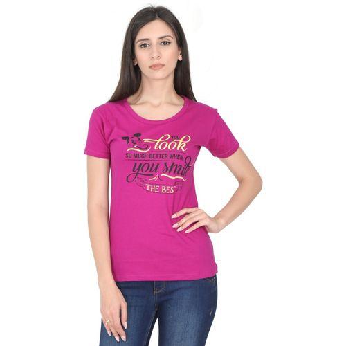 FLEXIMAA Casual Regular Sleeve Printed Women Maroon Top