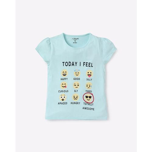 KG FRENDZ Graphic Print Crew-Neck T-shirt with Cap Sleeves
