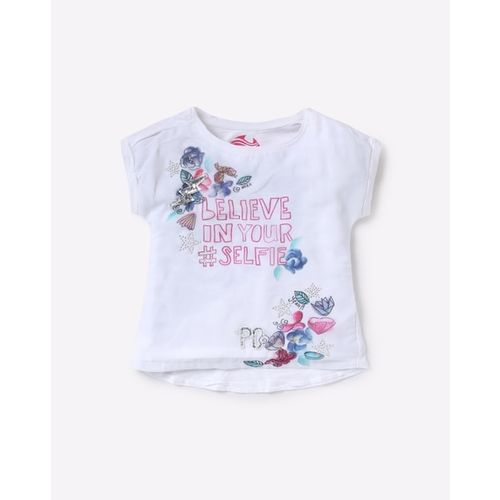 POINT COVE Printed Crew-Neck T-shirt with Embellishments