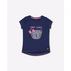 Mothercare Round-Neck Embellished High-Low Cotton T-shirt