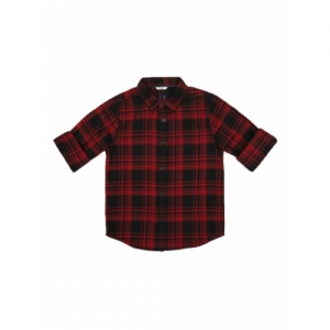 Allen Solly Junior Red & Black Cotton Checked Regular Fit Shirt