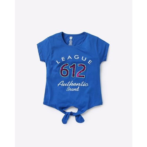 612 League Typographic Print T-shirt with Tie-Up