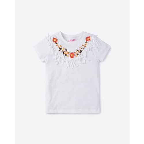 KG FRENDZ Embroidered Crew-Neck T-shirt with Fringes