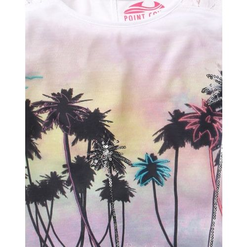 POINT COVE Printed T-shirt with Lace Panels