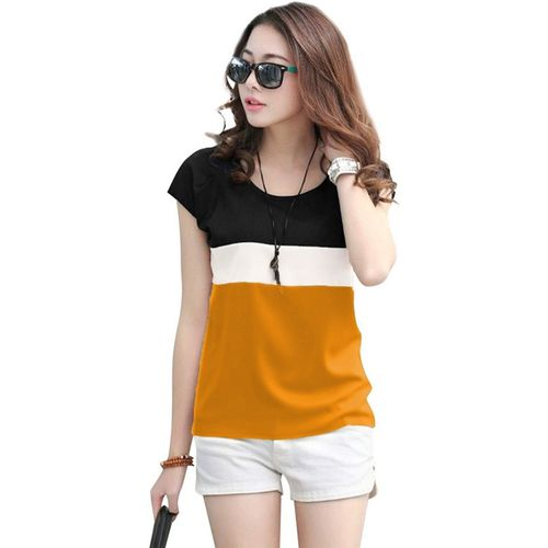 Tap in Color Block Women Round Neck Multicolor T-Shirt