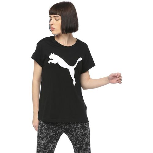 Puma Graphic Print Women Round Neck Black T-Shirt