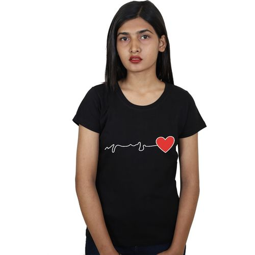 Tees World Graphic Print Women Round Neck Reversible Black T-Shirt