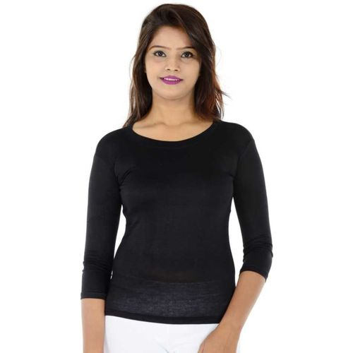 BOOTHOME Solid Women Scoop Neck Black T-Shirt