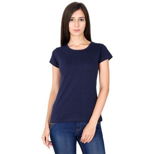 SV Solid Women Round Neck Dark Blue T-Shirt