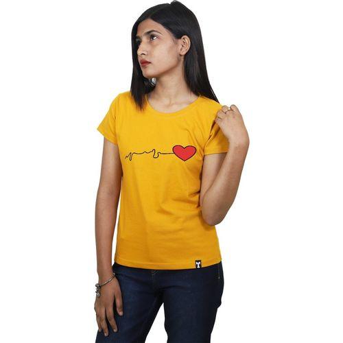 ItkiUtki Graphic Print Women Round Neck Yellow T-Shirt
