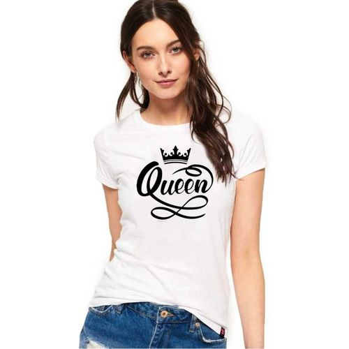 WYD Printed Women Round Neck White T-Shirt