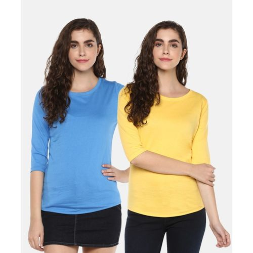 Young Trendz Solid Women Round Neck Multicolor T-Shirt(Pack of 2)
